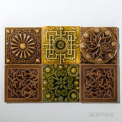 Six J. & J.G. Low Art Tile Co. Art Pottery Tiles