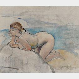 Leon Kroll (American, 1884-1975)      Kneeling Nude