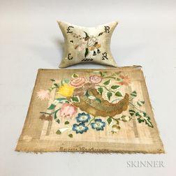 Cornucopia Needlework by Cornelia Van Alstyne and a Wedding Pillow Dated 1812
