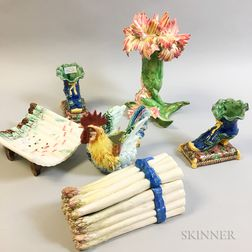 Six French Majolica Items