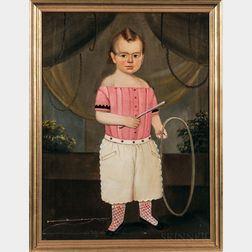 Prior-Hamblen School, Mid-19th Century      Portrait of a Child Dressed in Pink
