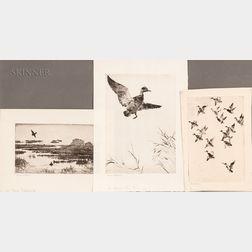 Frank Weston Benson (American, 1862-1951)    Three Waterfowl Prints: Black Ducks Towering