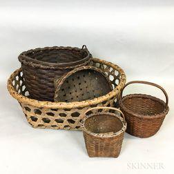 Five Woven Splint Baskets.     Estimate $100-150