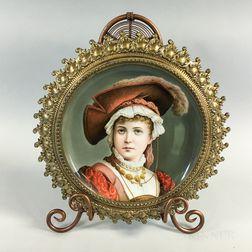 Framed Porcelain Portrait Plaque of a Woman