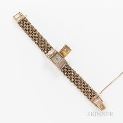Dumont 14kt Gold Gem-set Wristwatch