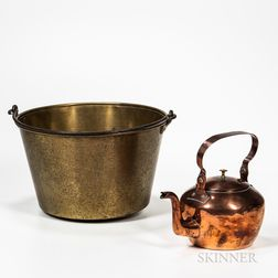 Large Marked Brass Bucket and a Copper Kettle