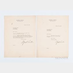 Smith, Alfred E. (1873-1944) Two Typed Letters Signed to Walter Scott, 1930.
