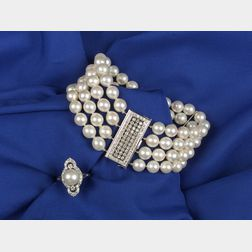 Cultured Pearl Bracelet and Ring