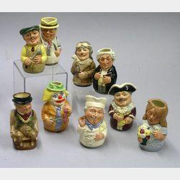 Nine Small Royal Doulton Character Toby Jugs