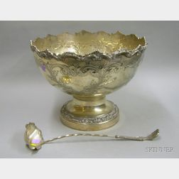 Continental Silver Plate Punch Bowl and Ladle.