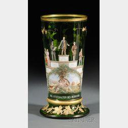 German Enamel Decorated Green Glass Vase
