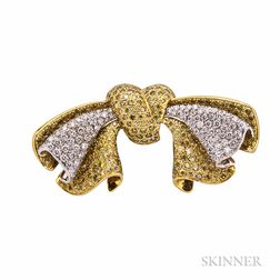 18kt Gold, Colored Diamond, and Diamond Bow Brooch, Alopa