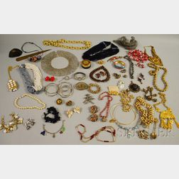 Large Group of Sterling Silver, Antique, and Costume Jewelry
