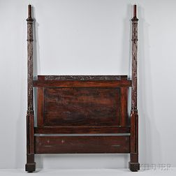 Late Federal Carved Mahogany Tall Post Bed
