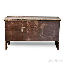 Red-painted and Decorated Six-board Blanket Chest