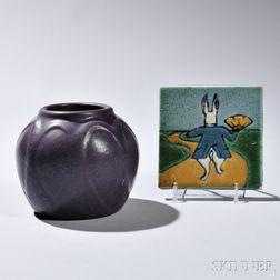 C. Pardee Works Alice in Wonderland Tile and a Van Briggle Vase