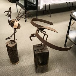 Two Wood and Iron Found Object Sculptures of Birds