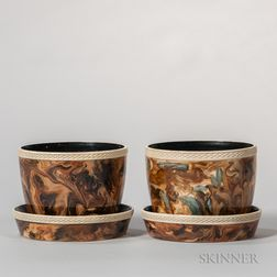Pair of Wedgwood & Bentley Surface Agate Cache Pots and Stands