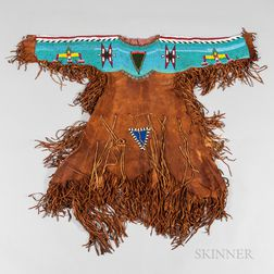 Plains Beaded and Fringed Hide Woman's Dress