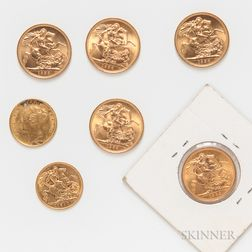 Five Uncirculated British Gold Sovereigns and an 1872 and 1910 Half Sovereign