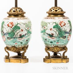 Pair of Chien Lung Porcelain and Gilt-bronze Ginger Jar Lamps