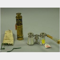Small German Lacquer Decorated Brass Draw Telescope and a Pair of Mother-of-Pearl Opera Glasses.