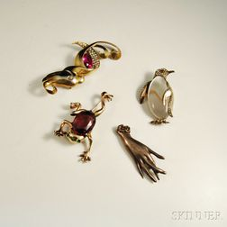 Four Sterling Silver Costume Brooches