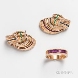 Pair of 14kt Gold, Ruby, Emerald, Sapphire, and Diamond Earrings and a 14kt Gold and Ruby Band