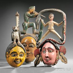 Three Polychrome Carved Wood Ibibio Face Masks