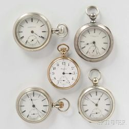 Rockford Grade 645 and Four Other Open-face Watches