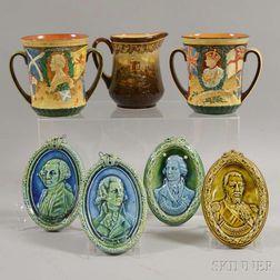 Seven Royal Doulton and Doulton Lambeth Commemorative Items
