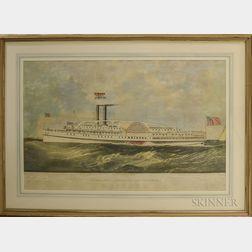 Framed Endicott & Co. Hand-colored Engraving Narraganset Steamshipp Co. Steamer Bristol