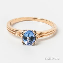 Retro 14kt Gold and Tanzanite Ring