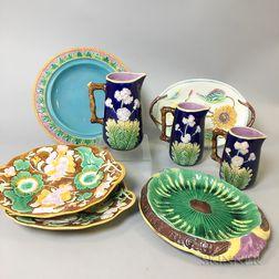 Eight English Majolica Ceramic Items