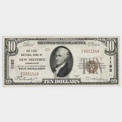 1929 The First National Bank of New Milford Type 1 $10 Note