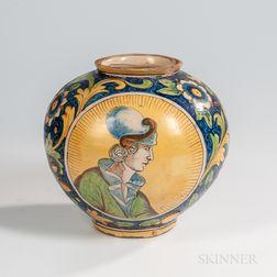 Venetian Majolica Portrait Vase