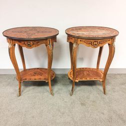 Two Louis XVI-style Ormolu-mounted Marquetry Side Tables