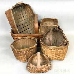 Seven Woven Splint Baskets.     Estimate $100-150