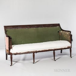 Federal-style Duncan Phyfe-type Carved Scroll-back Sofa
