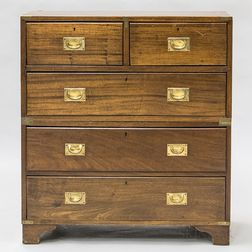 Two-part Brass-bound Campaign Chest of Drawers