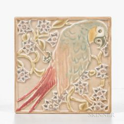 Rookwood Pottery Parrot Tile