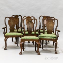 Set of Seven Early Georgian-style Mahogany Dining Chairs