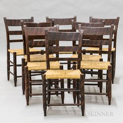 Assembled Set of Eight Rosewood Grain-painted Side Chairs