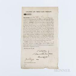 Arkansas and Texas Land Company Document, New York, New York, 27 April 1831.
