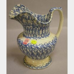 Blue and White Spatterware Pitcher.