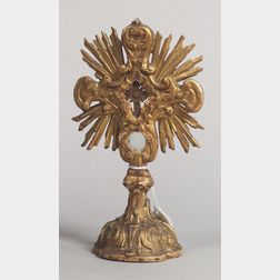 Italian Giltwood Reliquary Crucifix