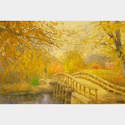 Framed Oil on Board View of Concord, Massachusetts, Old   North Bridge,   Attributed to Richard Gordon Packer (American,1916-1998)