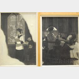 Marguerite Stuber Pearson (American, 1898-1978)      Lot of Two Paintings En Grisaille: Knitting by Lamplight