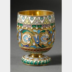 Russian Gold-washed Silver and Cloisonne Enamel Footed Cup