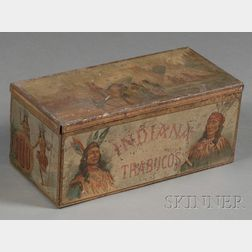 """""""INDIANA TRABUCOS"""" Lithographed Tobacco Tin with Indian Figures"""